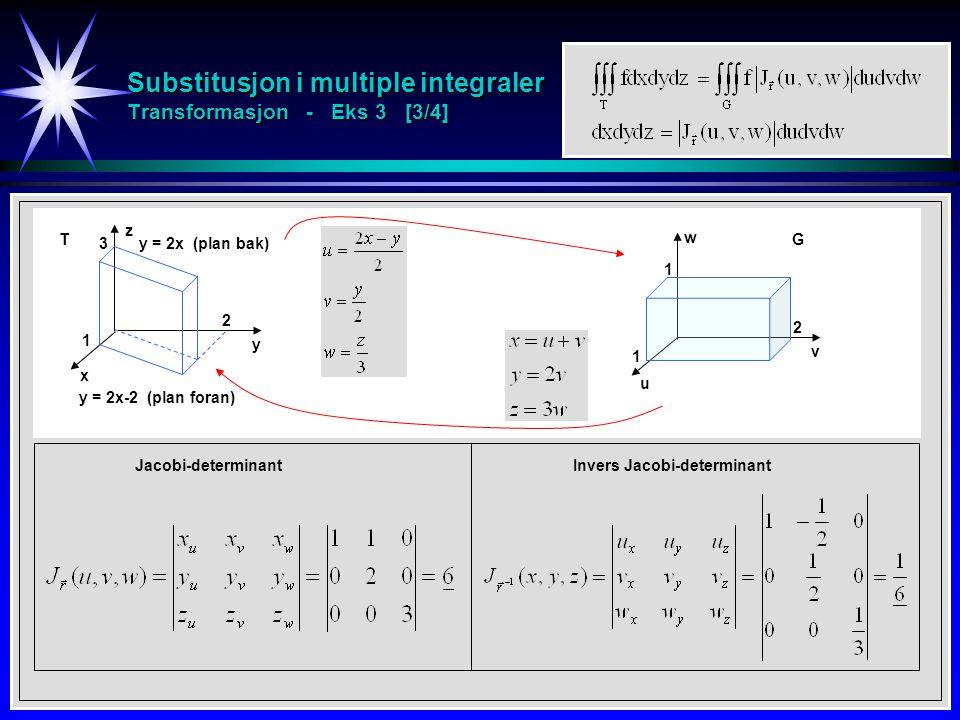 Substitusjon i multiple integraler Transformasjon - Eks 3 [3/4] Jacobi-determinant u v w 1 2 1 x y z 3 2 1 y = 2x (plan bak) y = 2x-2 (plan foran) Invers Jacobi-determinant TG