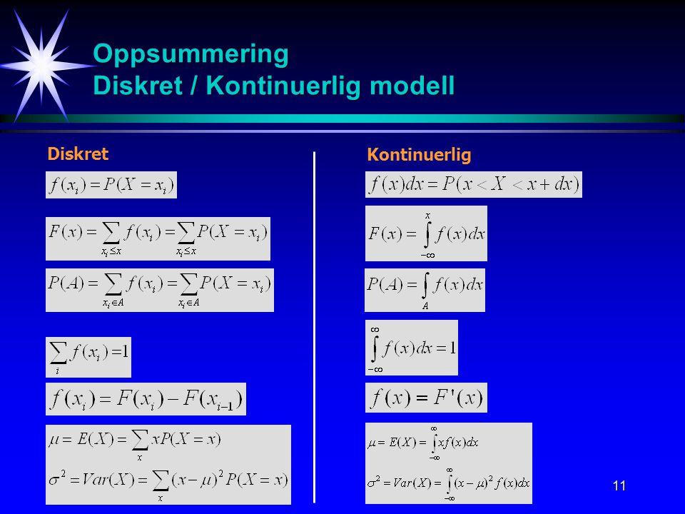 11 Oppsummering Diskret / Kontinuerlig modell Diskret Kontinuerlig