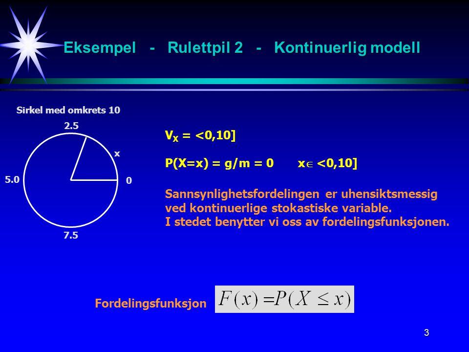 3 x 2.5 V X = <0,10] P(X=x) = g/m = 0 x  <0,10] Fordelingsfunksjon Sirkel med omkrets 10 5.0 7.5 0 Sannsynlighetsfordelingen er uhensiktsmessig ved k