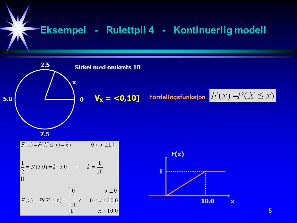 5 x 2.5 V X = <0,10] Fordelingsfunksjon Sirkel med omkrets 10 5.0 7.5 0 F(x) x10.0 1 Eksempel - Rulettpil 4 - Kontinuerlig modell