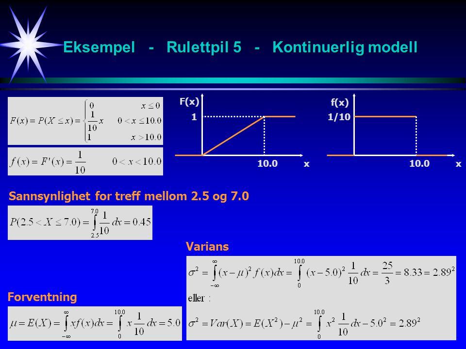 9 F(x) x10.0 1 f(x) x10.0 1/10 Forventning Varians Sannsynlighet for treff mellom 2.5 og 7.0 Eksempel - Rulettpil 5 - Kontinuerlig modell