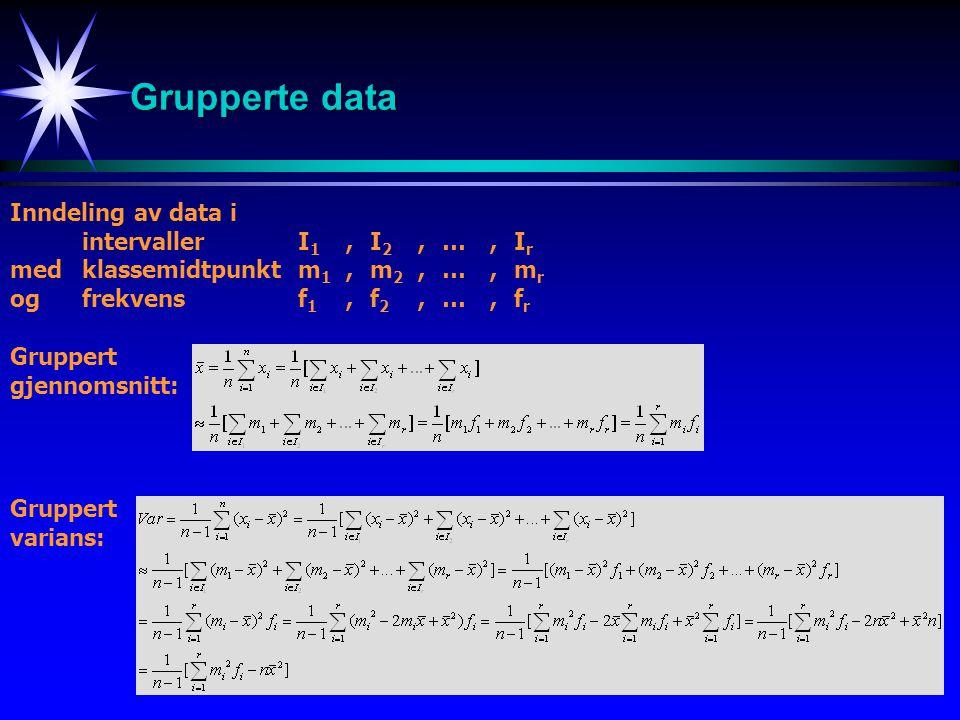 13 Grupperte data Inndeling av data i intervaller I 1,I 2, …, I r medklassemidtpunkt m 1, m 2, …,m r og frekvens f 1, f 2, …, f r Gruppert gjennomsnit
