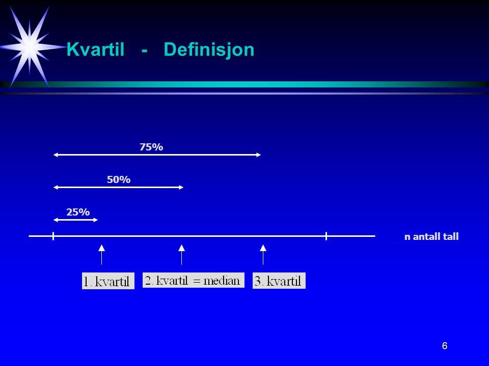 7 Persentil (Fraktil) - Definisjon 100 x p % 100 x p % persentil er verdien definert ved at minst 100 x p % av observasjonene ligger nedenfor denne verdien.