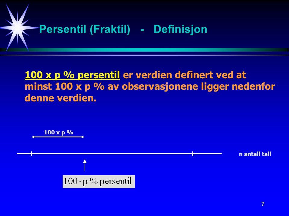 7 Persentil (Fraktil) - Definisjon 100 x p % 100 x p % persentil er verdien definert ved at minst 100 x p % av observasjonene ligger nedenfor denne ve