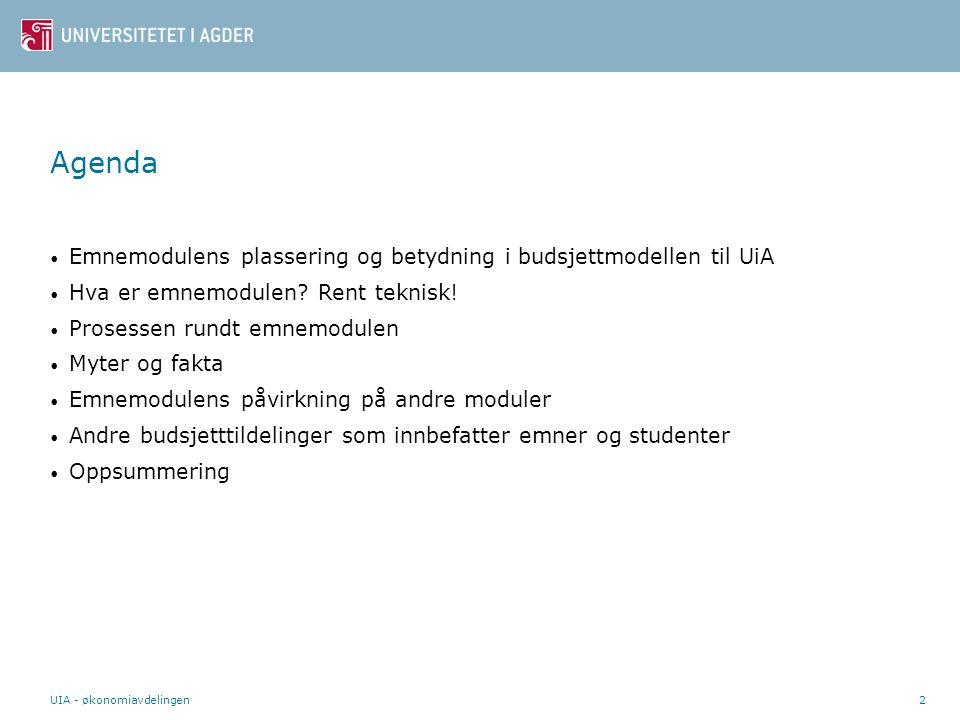 UIA - økonomiavdelingen2 Agenda Emnemodulens plassering og betydning i budsjettmodellen til UiA Hva er emnemodulen.
