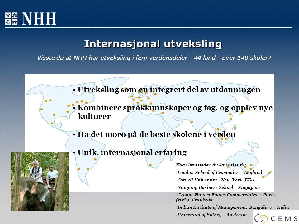 Internasjonal utveksling Internasjonal utveksling Visste du at NHH har utveksling i fem verdensdeler - 44 land - over 140 skoler? Utveksling som en in