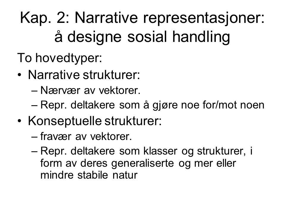Kap. 2: Narrative representasjoner: å designe sosial handling To hovedtyper: Narrative strukturer: –Nærvær av vektorer. –Repr. deltakere som å gjøre n