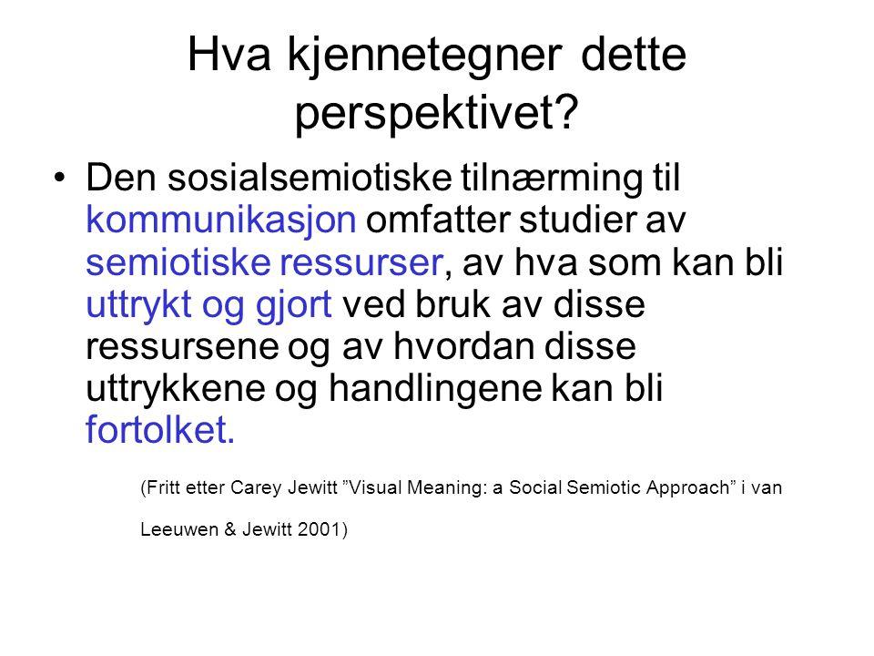 Det sosiale i sosialsemiotikken Fokus på hvordan mening skapes i konkrete sosiale situasjoner.