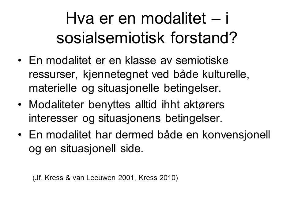 Hva er en modalitet – i sosialsemiotisk forstand.