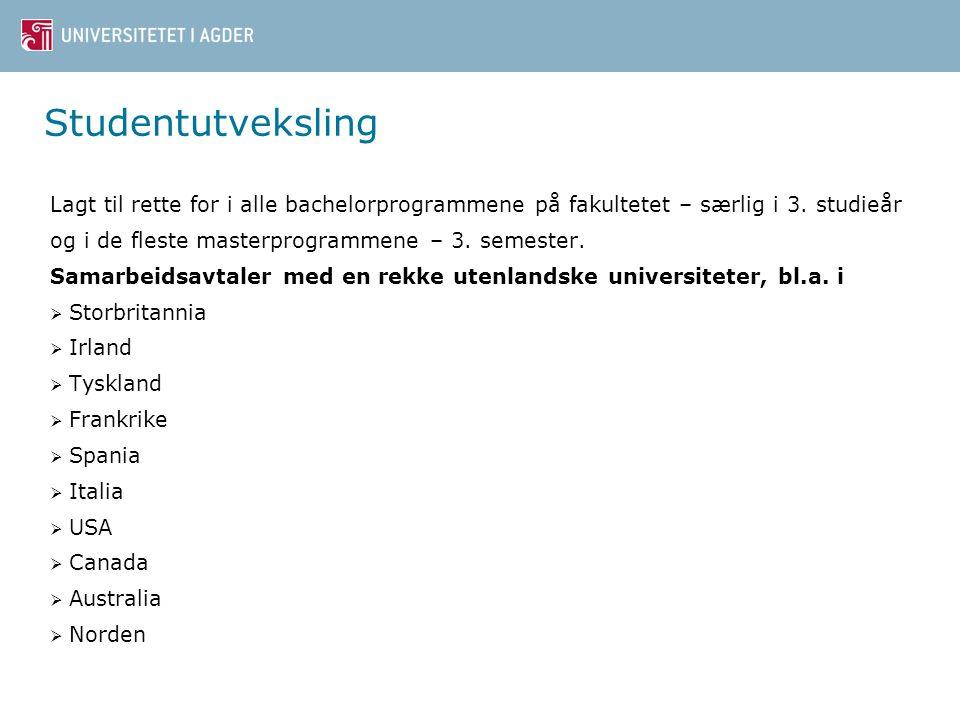 Studentutveksling Lagt til rette for i alle bachelorprogrammene på fakultetet – særlig i 3.