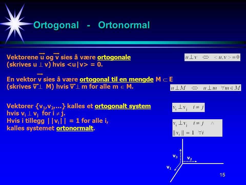 15 Ortogonal - Ortonormal Vektorene u og v sies å være ortogonale (skrives u  v) hvis = 0. v2v2 En vektor v sies å være ortogonal til en mengde M  E