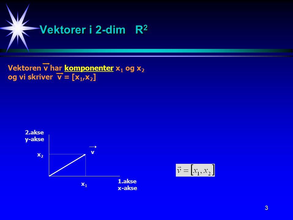 3 Vektorer i 2-dim R 2 Vektoren v har komponenter x 1 og x 2 og vi skriver v = [x 1,x 2 ] 1.akse x-akse 2.akse y-akse x1x1 x2x2 v