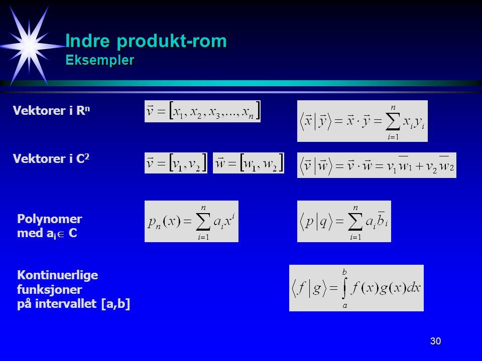 30 Indre produkt-rom Eksempler Vektorer i R n Kontinuerlige funksjoner på intervallet [a,b] Vektorer i C 2 Polynomer med a i  C