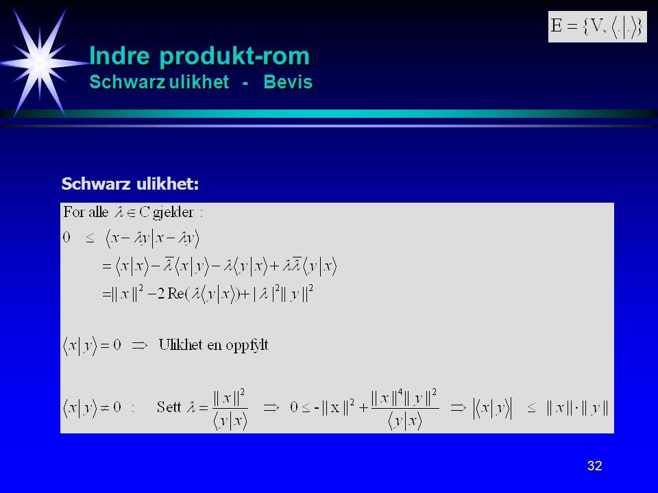 32 Indre produkt-rom Schwarz ulikhet - Bevis Schwarz ulikhet: