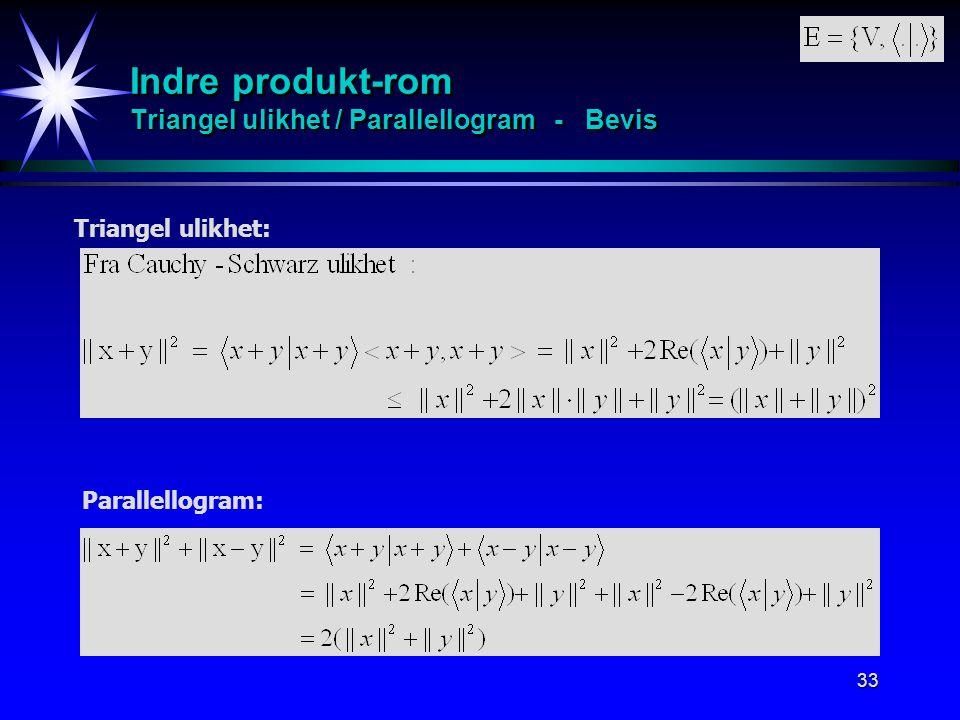 33 Indre produkt-rom Triangel ulikhet / Parallellogram - Bevis Triangel ulikhet: Parallellogram: