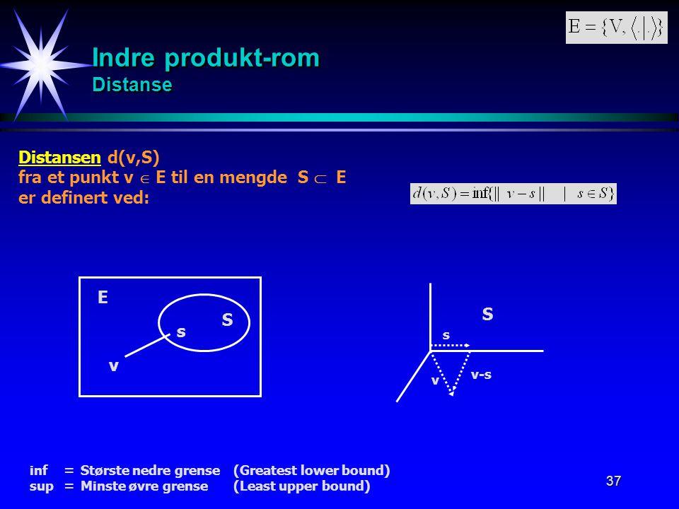 37 Indre produkt-rom Distanse Distansen d(v,S) fra et punkt v  E til en mengde S  E er definert ved: S E v s v s v-s S inf = Største nedre grense(Gr