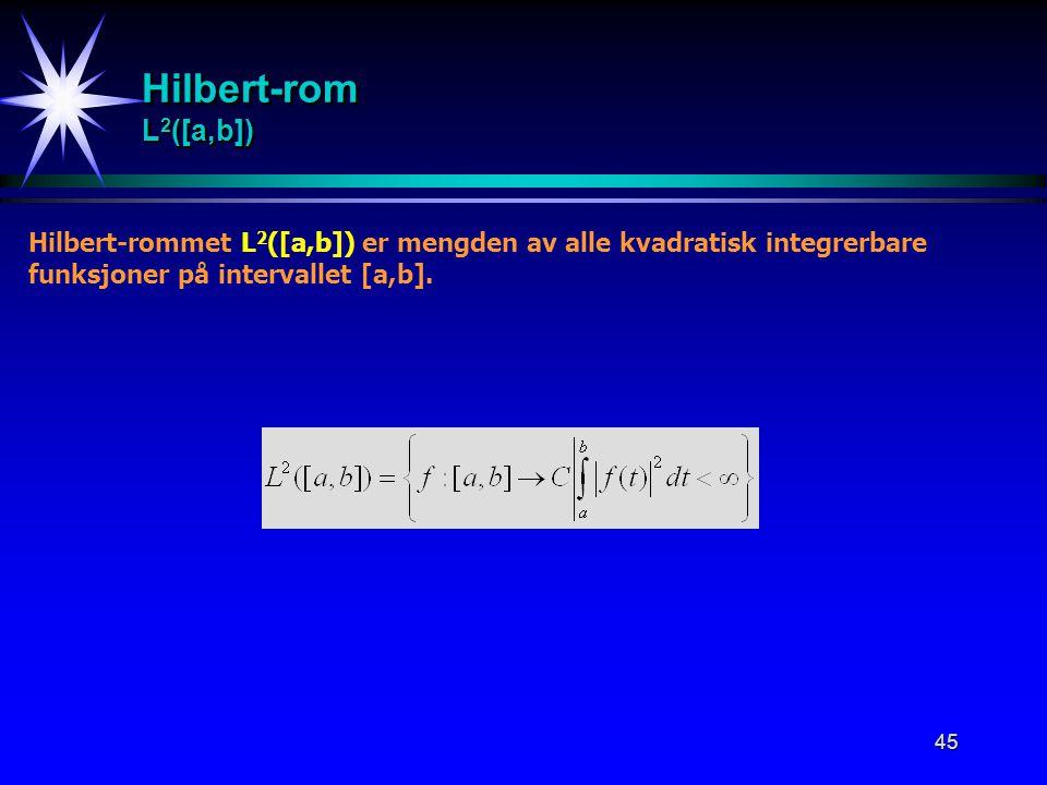 45 Hilbert-rom L 2 ([a,b]) Hilbert-rommet L 2 ([a,b]) er mengden av alle kvadratisk integrerbare funksjoner på intervallet [a,b].