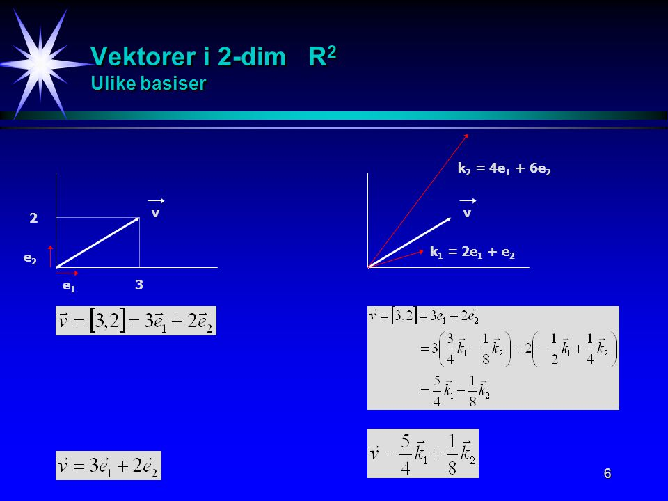 6 Vektorer i 2-dim R 2 Ulike basiser 3 2 e2e2 e1e1 v k 2 = 4e 1 + 6e 2 k 1 = 2e 1 + e 2 v