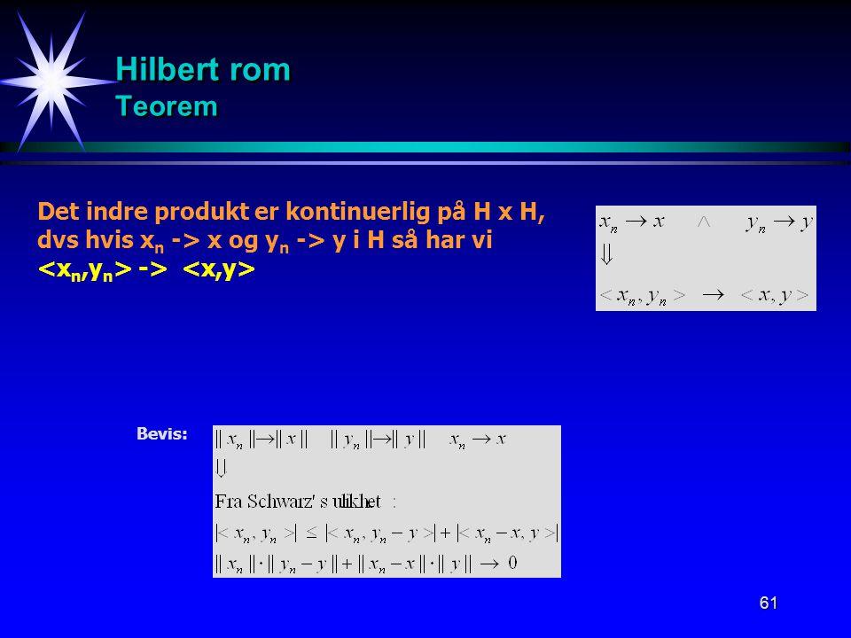 61 Hilbert rom Teorem Bevis: Det indre produkt er kontinuerlig på H x H, dvs hvis x n -> x og y n -> y i H så har vi ->