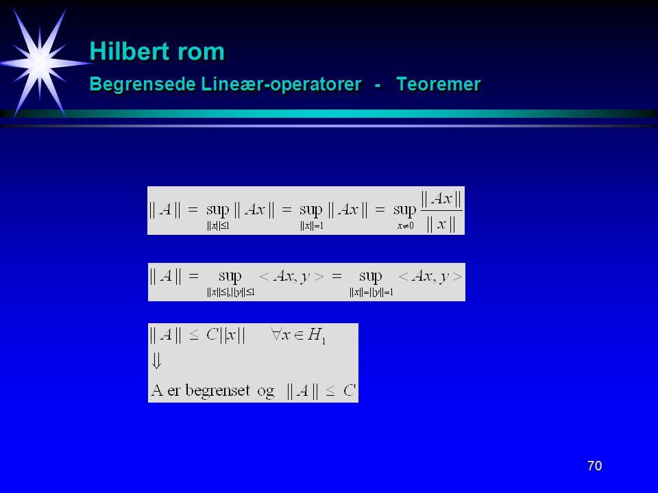 70 Hilbert rom Begrensede Lineær-operatorer - Teoremer