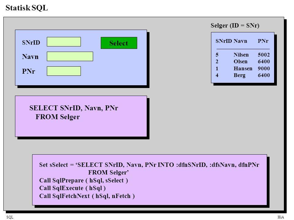 SQLHiA Statisk SQL SNrIDNavnPNr 5Nilsen5002 2Olsen6400 1Hansen9000 4Berg6400 Selger (ID = SNr) SNrID Navn PNr Select SELECT SNrID, Navn, PNr FROMSelger Set sSelect = 'SELECT SNrID, Navn, PNr INTO :dfnSNrID, :dfsNavn, dfnPNr FROM Selger' Call SqlPrepare ( hSql, sSelect ) Call SqlExecute ( hSql ) Call SqlFetchNext ( hSql, nFetch )