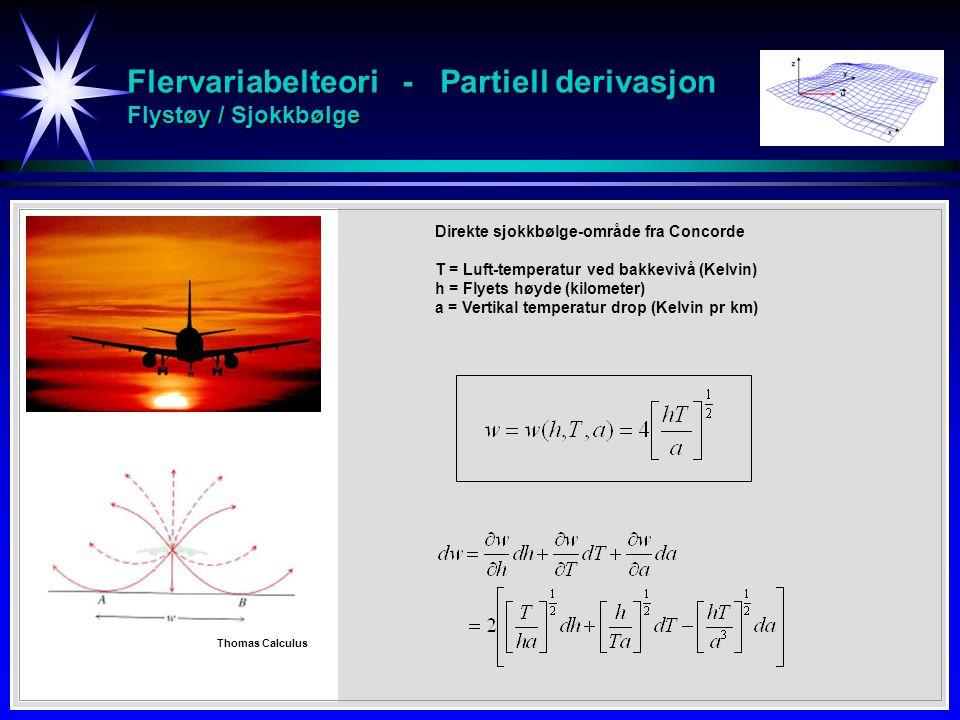 Flervariabelteori - Partiell derivasjon Flystøy / Sjokkbølge Direkte sjokkbølge-område fra Concorde T = Luft-temperatur ved bakkevivå (Kelvin) h = Flyets høyde (kilometer) a = Vertikal temperatur drop (Kelvin pr km) Thomas Calculus