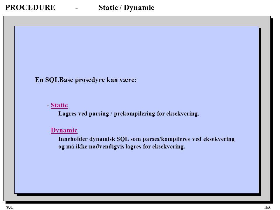 SQLHiA Trigger-plassering i DML Eksekverings-modell 1.Kontrollerantall bind data 2.Validiter verdier som er del av statementet (dvs ikke bound data) Nullverdi-, og datatype-sjekking 3.Utfør sikkerhetskontroll 4.Hvis trigger er definert, eksekver BEFORE STATEMENT trigger 5.Loop for hver rad som berøres av SQL-statementet: - Validiter verdier hvis bound in (Nullverdi-, datatype- og lengde-sjekking) - Eksekver BEFORE ROW trigger - Utfør kontroll for duplikate verdier - Utfør referanse integritet kontroll - Eksekver INSERT/UPDATE/DELETEDML - Eksekver AFTER ROW trigger 6.Eksekver AFTER STATEMENT trigger