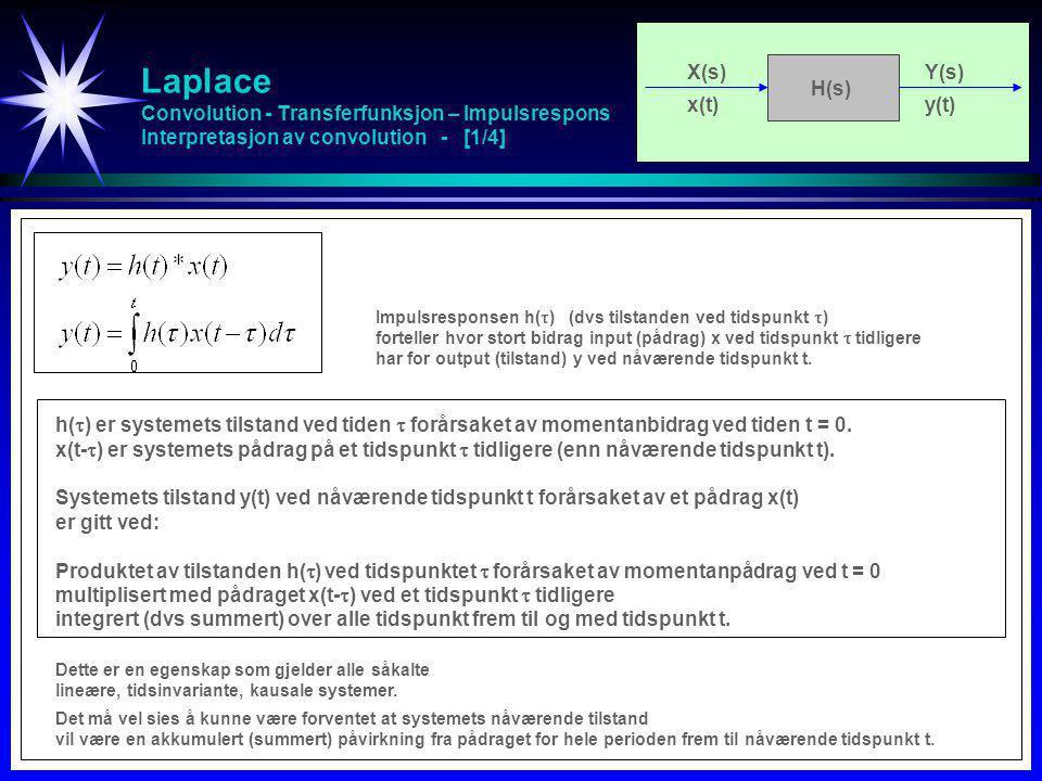 Laplace Convolution - Transferfunksjon – Impulsrespons Interpretasjon av convolution - [2/4] X(s)Y(s) x(t)y(t) H(s) y(t) er output (tilstand) ved nåværende tidspunkt t forårsaket av input (pådrag) x(t).