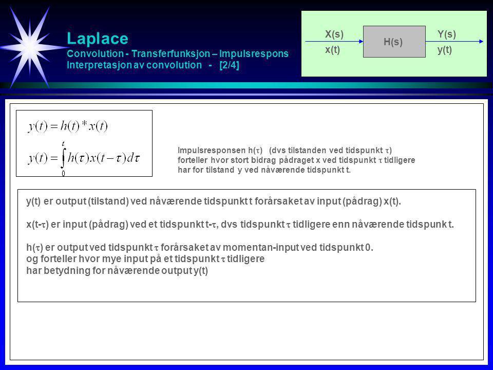Laplace Convolution - Transferfunksjon – Impulsrespons Interpretasjon av convolution - [3/4] X(s)Y(s) x(t)y(t) H(s) Bestemmelse av output y(t): Flip impulsresponsen bakover i tid h(-  ) Forskyv den flippede impulsresponsen over tid h(t-  ) Multipliser punktvis med input x(  ) h(t-  )x(  ) Summer (dvs integrer) over  fra 0 til t