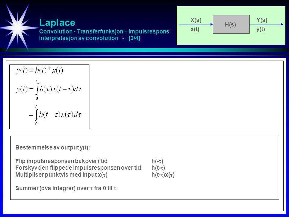 Laplace Convolution - Transferfunksjon – Impulsrespons Interpretasjon av convolution - [3/4] X(s)Y(s) x(t)y(t) H(s) Bestemmelse av output y(t): Flip i