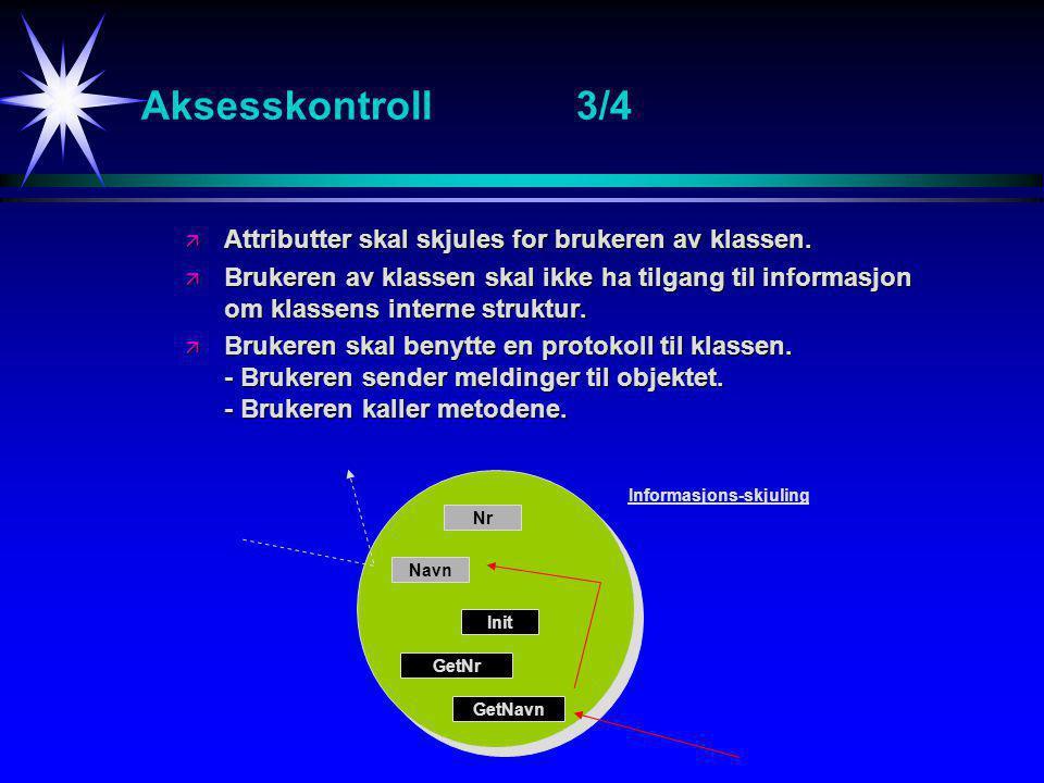 Aksesskontroll3/4 ä Attributter skal skjules for brukeren av klassen.