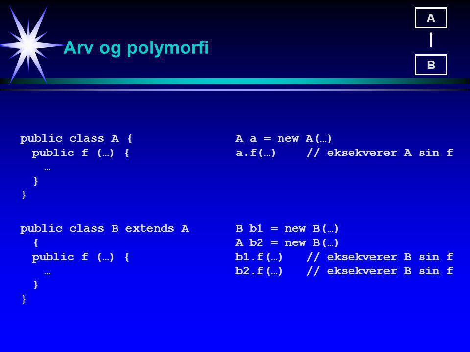 Arv og polymorfi public class A{ public f (…) { … } public class B extends A { public f (…) { … } A B A a = new A(…) a.f(…) // eksekverer A sin f B b1 = new B(…) A b2 = new B(…) b1.f(…) // eksekverer B sin f b2.f(…)// eksekverer B sin f