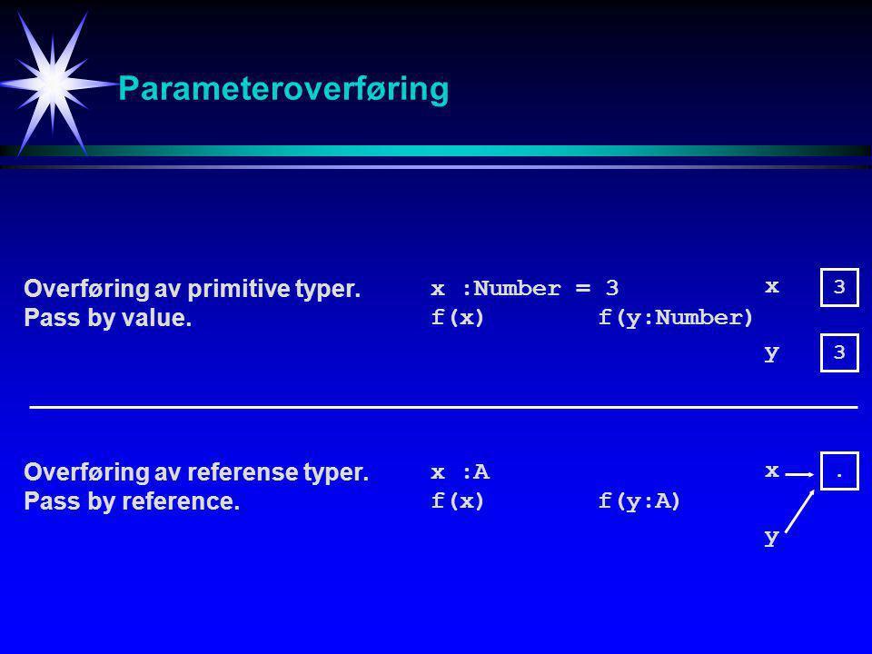 Parameteroverføring Overføring av primitive typer.