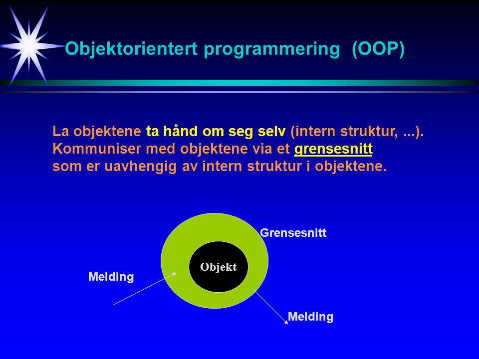 Objektorientert programmering (OOP) La objektene ta hånd om seg selv (intern struktur,...).