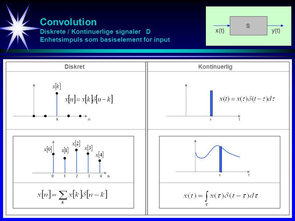 Convolution Diskrete / Kontinuerlige signaler D Enhetsimpuls som basiselement for input x(t)y(t) S kn  t  t DiskretKontinuerlig