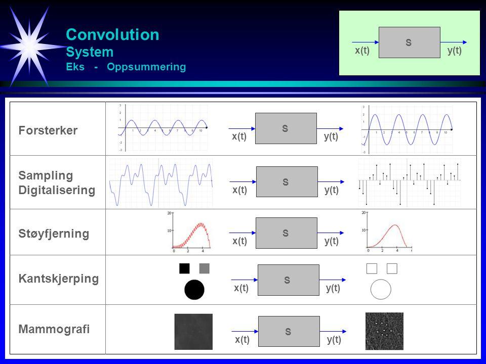 Convolution System Eks - Oppsummering x(t)y(t) S Forsterker x(t)y(t) S x(t)y(t) S Sampling Digitalisering x(t)y(t) S Støyfjerning Kantskjerping Mammografi x(t)y(t) S x(t)y(t) S