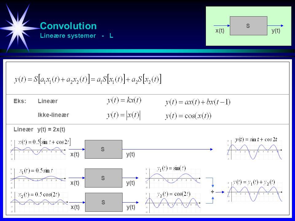 Convolution Tidsinvariante systemer - TI En forsinket input x(t) fører til tilsvarende forsinkelse i output x(t)y(t) S x(t)y(t) S Eks:Tidsinvariant Tidsavhengig x(t)y(t) S Tidsinvariant