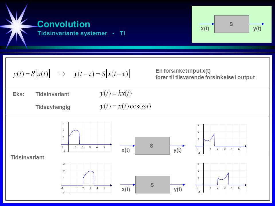 Convolution Tidsinvariante systemer - TI En forsinket input x(t) fører til tilsvarende forsinkelse i output x(t)y(t) S x(t)y(t) S Eks:Tidsinvariant Ti