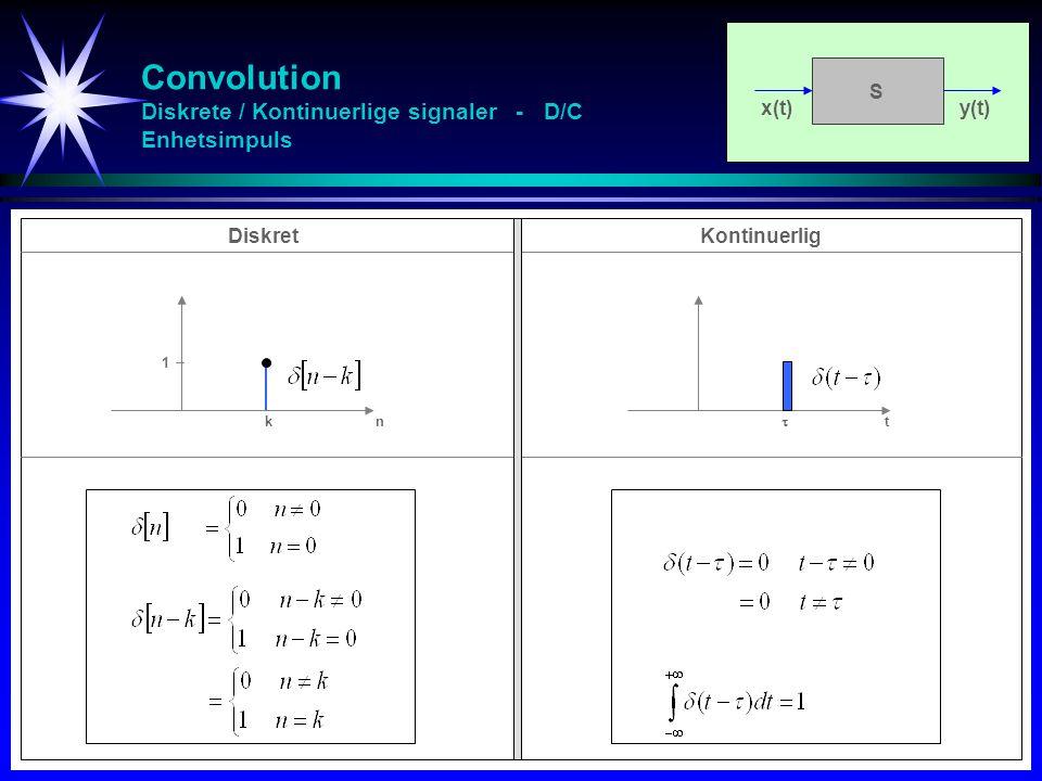 Convolution Diskrete / Kontinuerlige signaler - D/C Enhetsimpuls x(t)y(t) S kn 1  t DiskretKontinuerlig