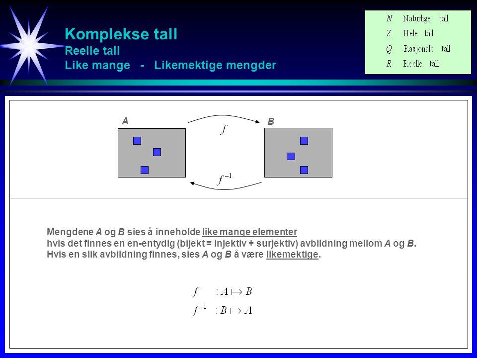 Komplekse tall Reelle tall Like mange - Likemektige mengder Mengdene A og B sies å inneholde like mange elementer hvis det finnes en en-entydig (bijek