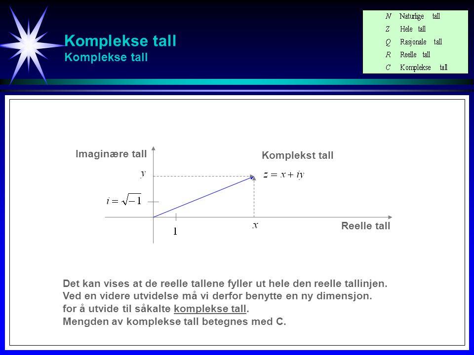 Komplekse tall Komplekse tall - Ulike notasjoner Reelle tall Imaginære tall Komplekst tall