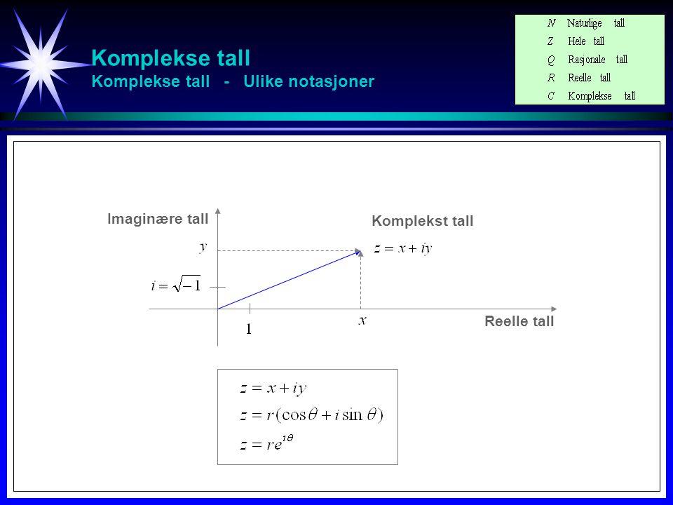 Komplekse tall Reelle tall Reelle tall (Irrasjonale tall) Rasjonale tall Hele tall Naturlige tall Komplekse tall 1 2 3 4 5 6 7 … -1 … 0
