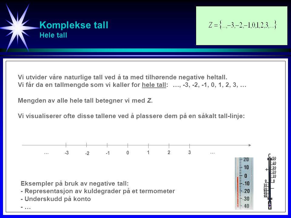 Komplekse tall Hele tall -3 … -2-2 0 1 2 3 Vi utvider våre naturlige tall ved å ta med tilhørende negative heltall. Vi får da en tallmengde som vi kal