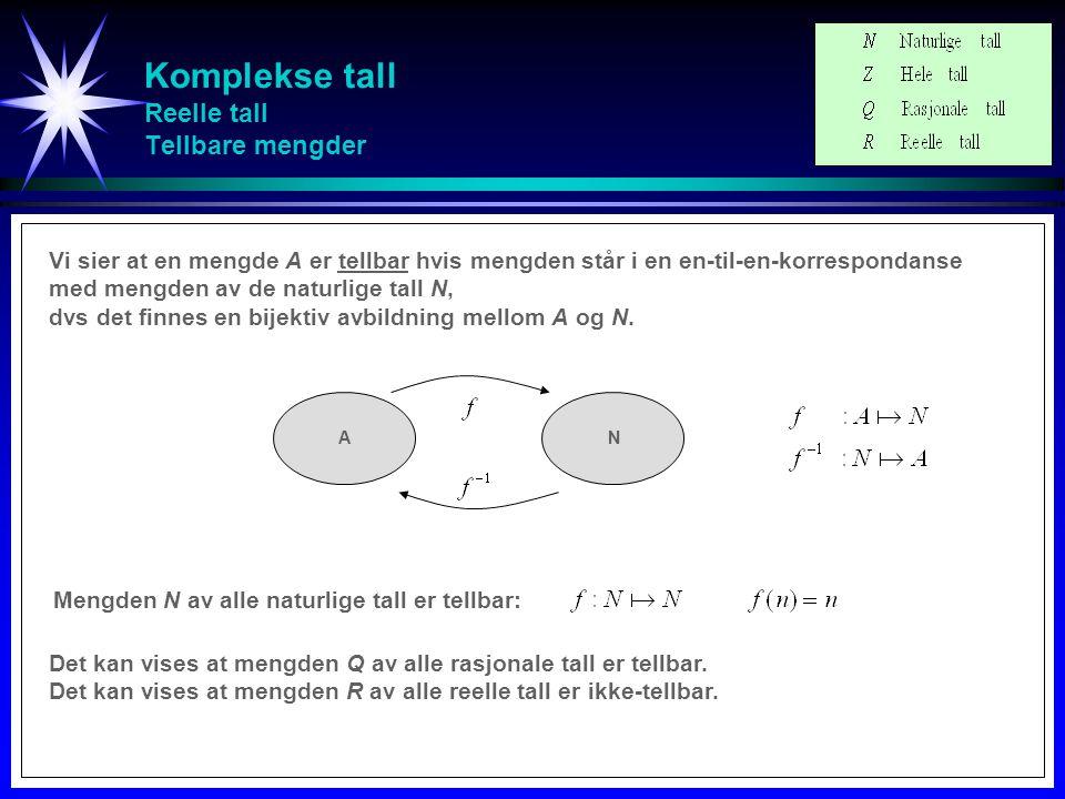 Komplekse tall Reelle tall Intervall Der er like mange reelle tall i intervallet L 1 = [0,1] som det er i intervallet L 2 = [0,2].