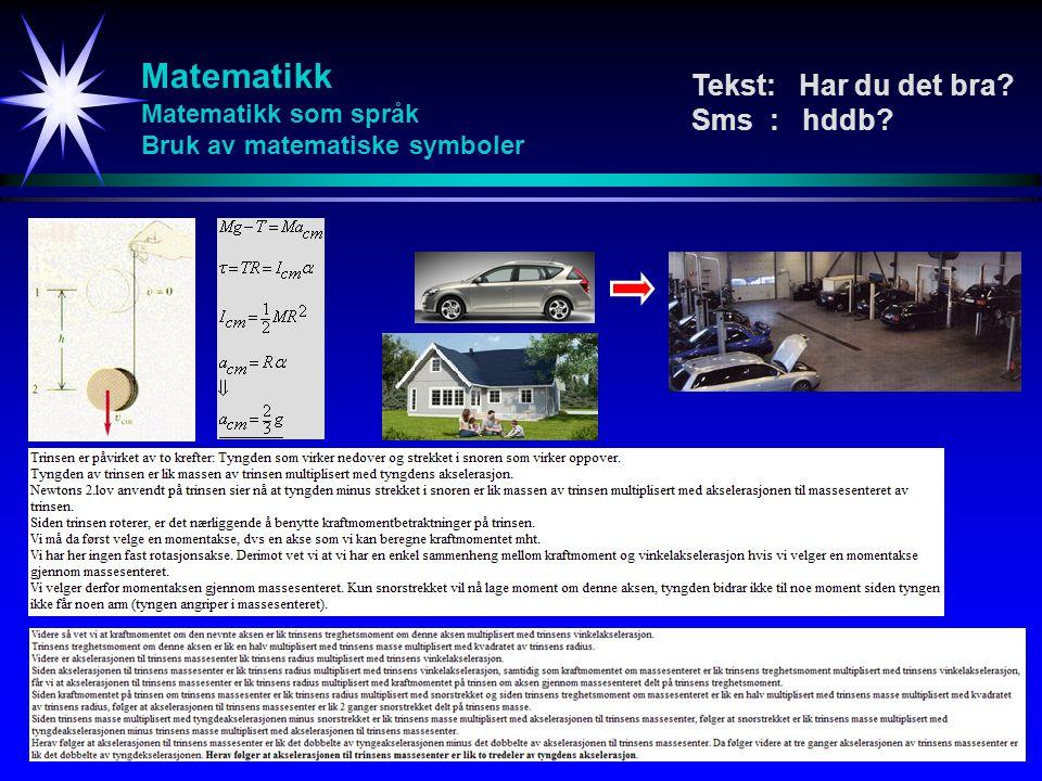Matematikk Matematikk som språk Bruk av matematiske symboler Tekst: Har du det bra? Sms : hddb?