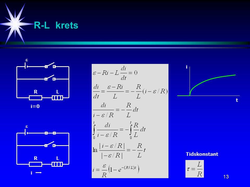 13 i=0 RL  R-L krets Tidskonstant i RL  t i