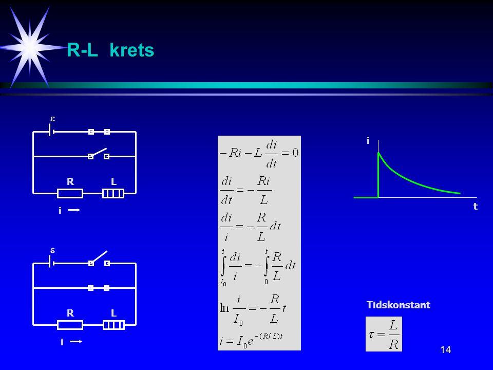14 RL  R-L krets Tidskonstant i RL  i t i