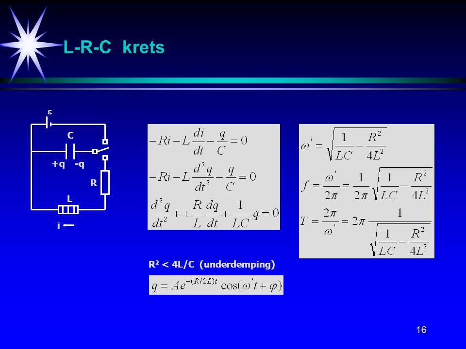 16 i L C L-R-C krets +q-q  R R 2 < 4L/C (underdemping)