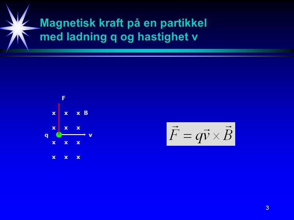 3 Magnetisk kraft på en partikkel med ladning q og hastighet v qv Bxx xx xx xx x x x x F