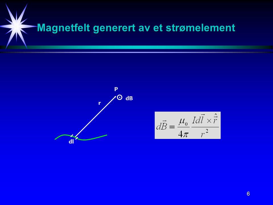 6 Magnetfelt generert av et strømelement r dB P dl.
